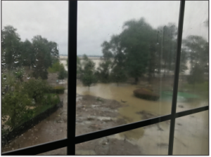 The third floor view from the apartment where Kendall Jones' uncle was trapped during the hurricane.